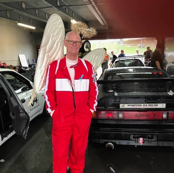Paul Monahan prepares to get on the race track as one of the angels in the Motor Racing Men's Group